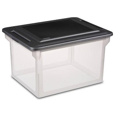 """Sterilite 18.5"""" x 14"""" Plastic File Box Clear/Black"""