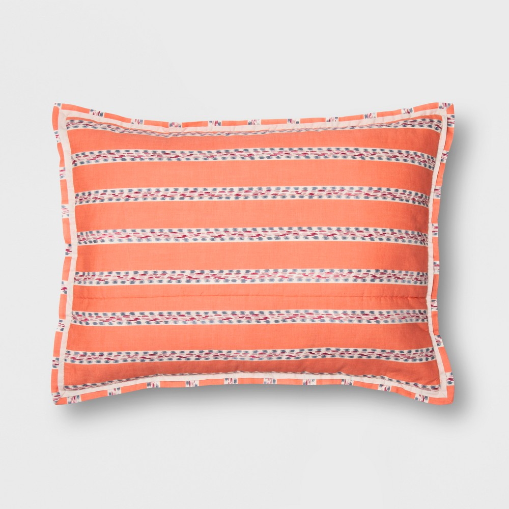 Coral (Pink) Seine Pom-Pom Stripe Sham (Euro) - Opalhouse