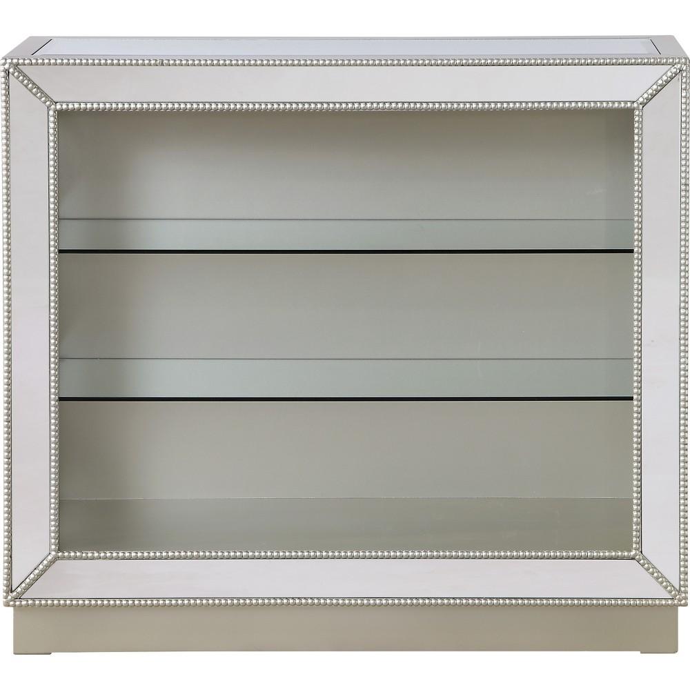 Monroe Mirrored 2 Shelf Curio Cabinet Champagne (Beige) - Treasure Trove