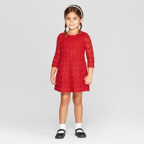 Toddler Girls Sweater Dress Cat Jack Red Sparkle