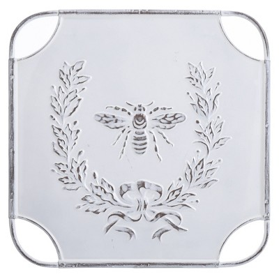 Square Metal Bee Yourself Laurel Design Art Distressed White - StyleCraft