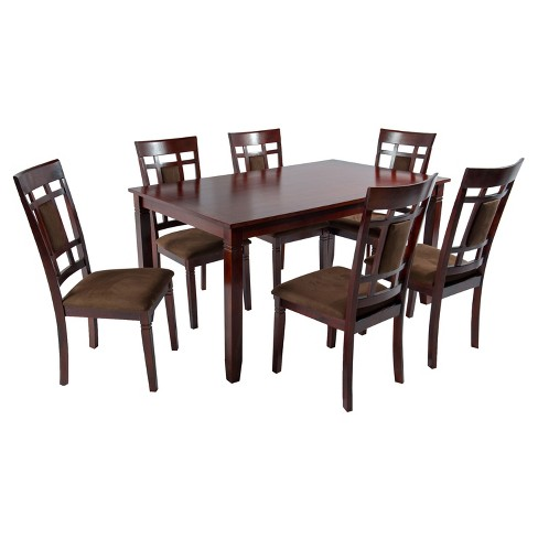 7pc Dining Table 6 Side Chairs Mahogany Home Source