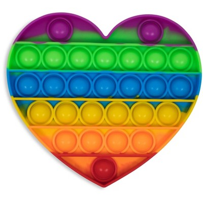 BOB Gift Pop Fidget Toy Silicone Bubble Popping Game   Rainbow Heart