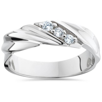 Pompeii3 Three Stone Diamond 14K White Gold Wedding Ring