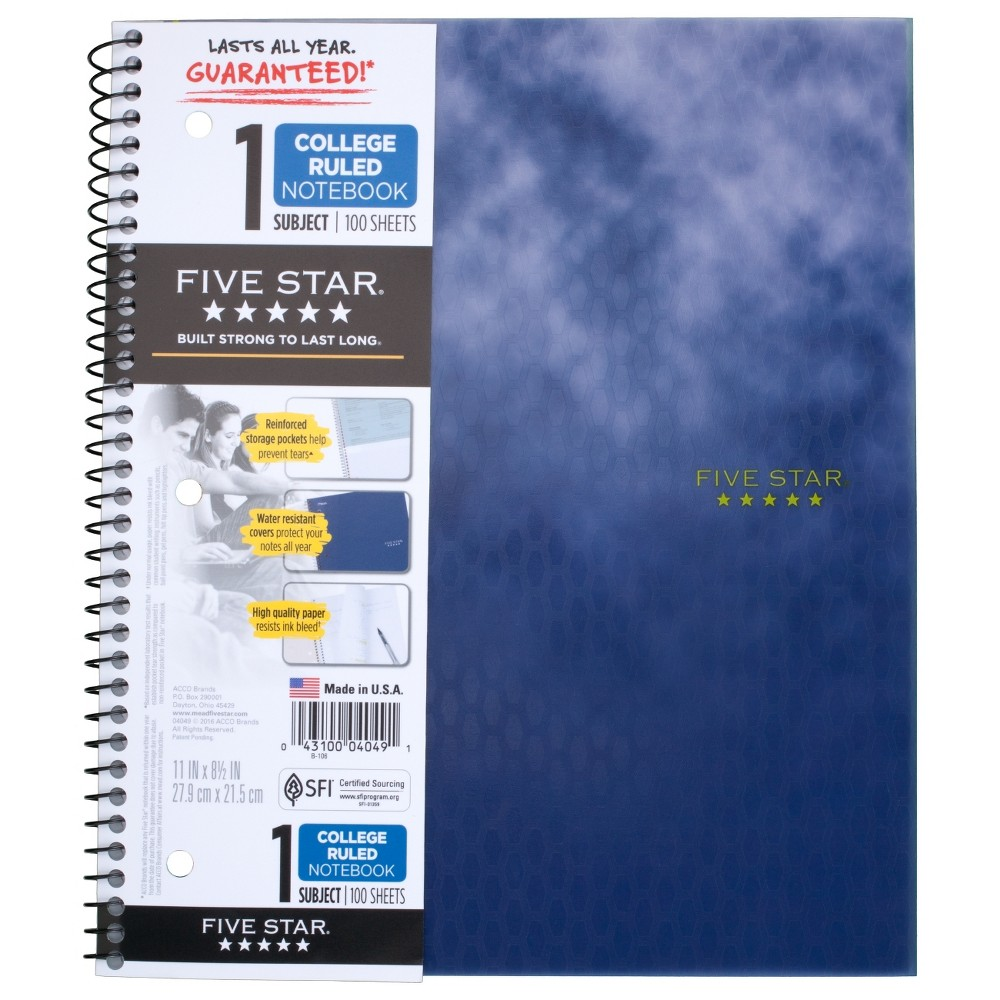 Spiral Notebook 1 Subject College Ruled Blue Design - Five Star