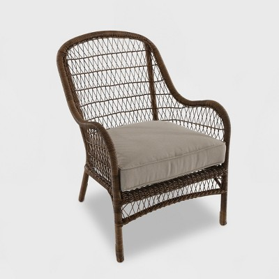 Target & Open Weave Wicker Patio Accent Chair - Tan - Threshold™