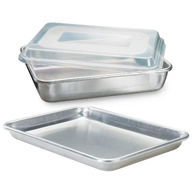 """Nordic Ware Naturals 3pc Bakeware Set 9""""x13"""" Cookie & Cake Pan with Lid"""