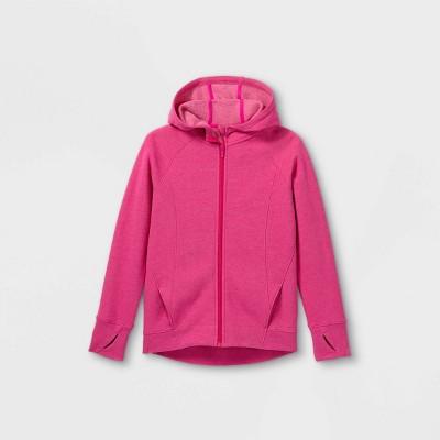 Girls' Fleece Full Zip Hooded Sweatshirt - All in Motion™ Fuchsia