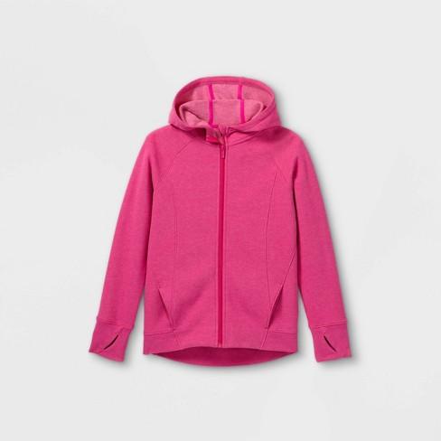 Girls' Fleece Full Zip Hooded Sweatshirt - All in Motion™ Fuchsia - image 1 of 2
