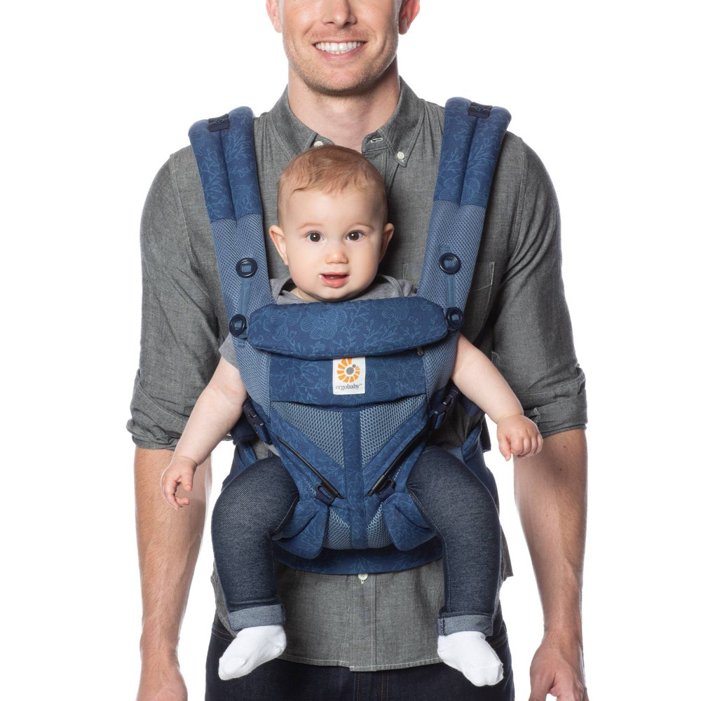 Image of Ergobaby Omni 360 Cool Air Mesh All Carry Positions Baby Carrier - Blue Blooms