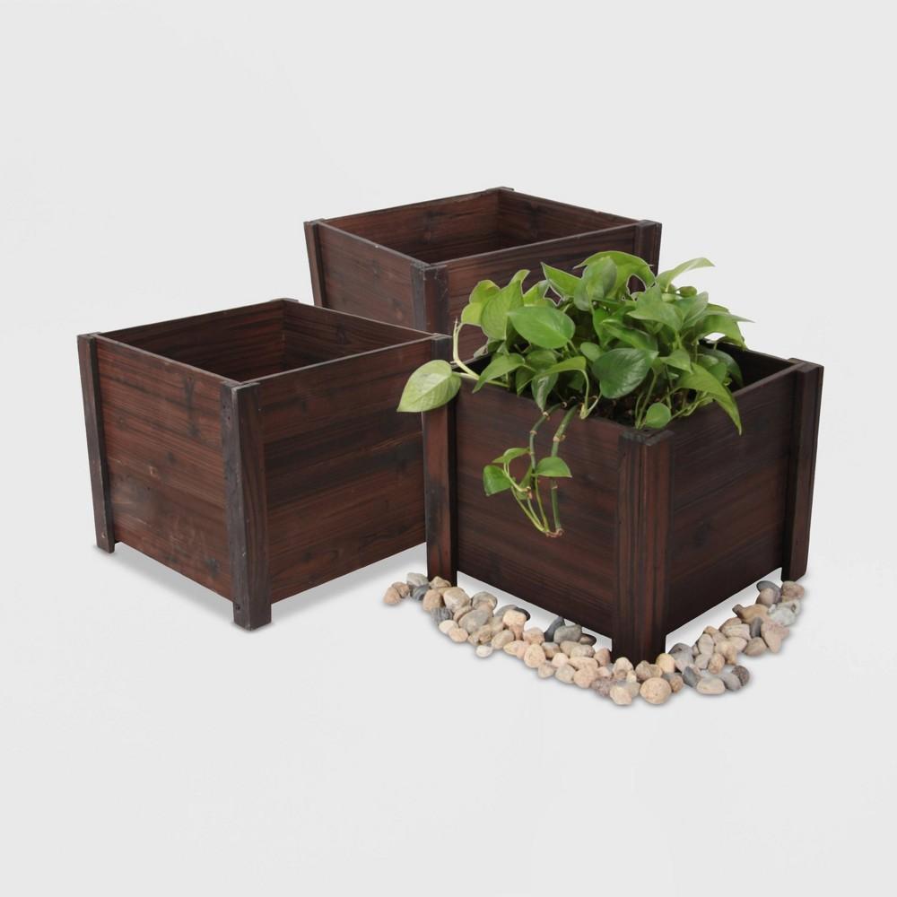 3pc Large Square Wooden Planters Brown - Leisure Season