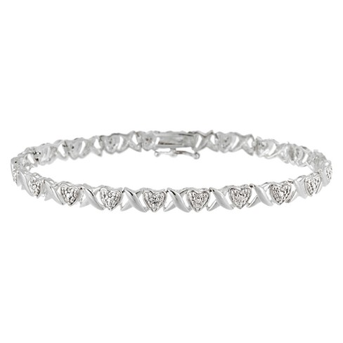 "Sterling Silver Heart &""X"" Diamond Accent Bracelet - image 1 of 1"