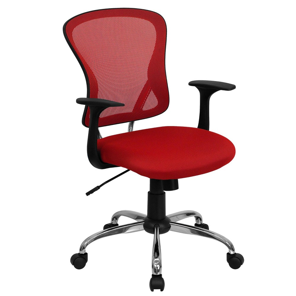 Image of Mid-Back Mesh Chair with Chrome Base Red - Belnick