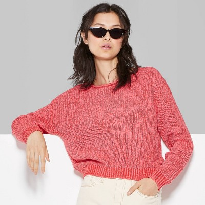 womens-rolled-crewneck-sweater---wild-fable-red by wild-fable