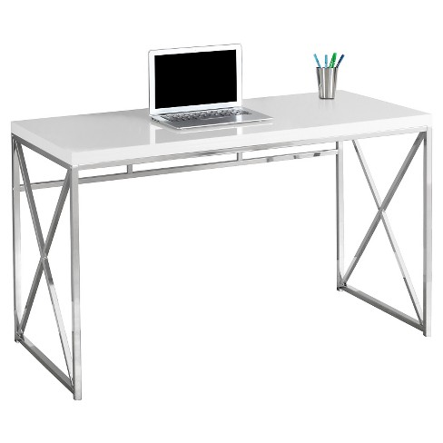 Chrome Metal Computer Desk Glossy White Everyroom