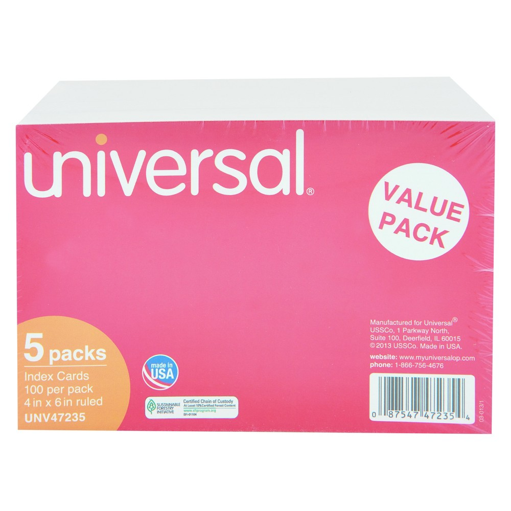 Universal Ruled Index Cards, 4 x 6, White, 500pk