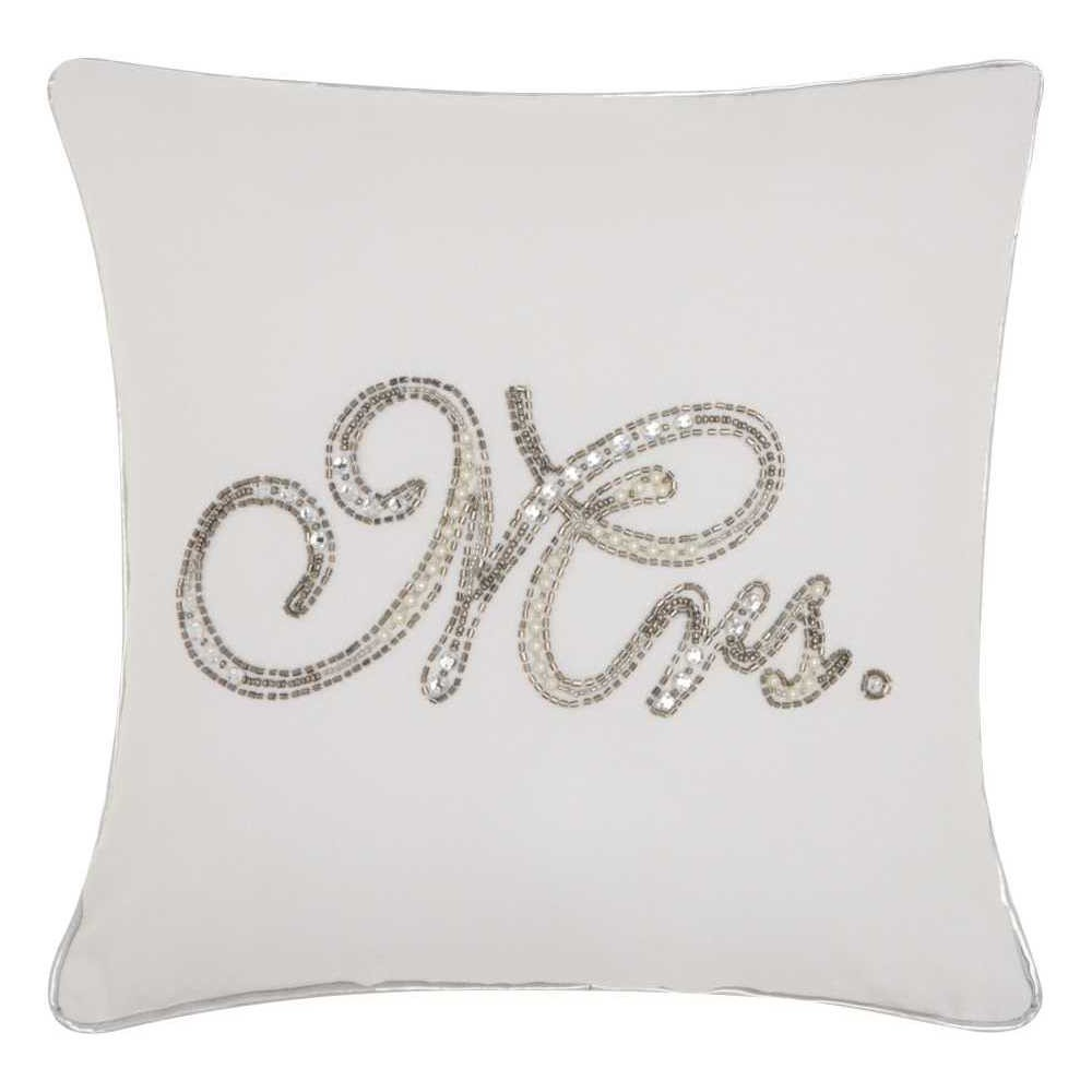 Image of White Letters Throw Pillow - Mina Victory, Size: Mrs.