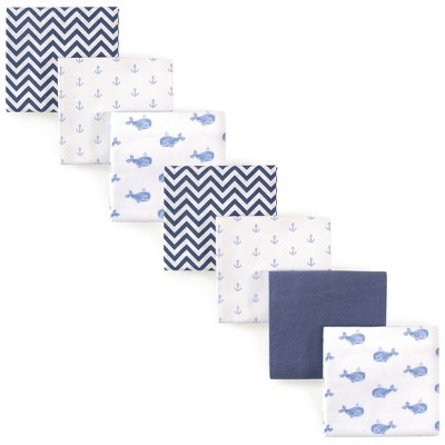 Hudson Baby Infant Boy Cotton Flannel Receiving Blankets Bundle, Blue Whale, One Size