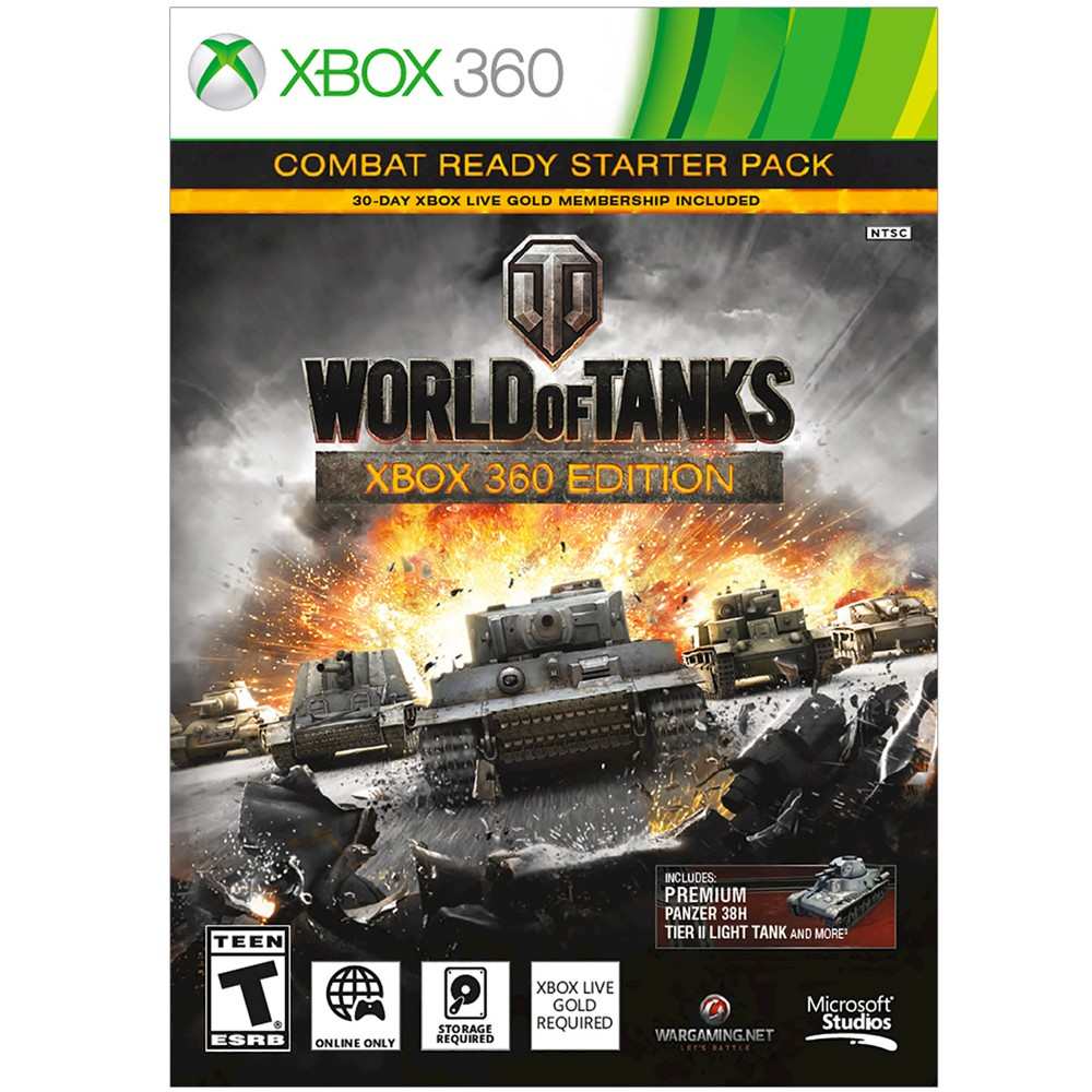 World of Tanks: Combat Ready Starter Pack Xbox 360 Join millions in the global online gaming phenomenon, custom built for Xbox 360. Take command of the most powerful World War II-era tanks and engage in epic 15 vs. 15 battles with players from around the world in the fight for global online supremacy. The World of Tanks: Xbox 360 Edition Combat Ready Starter Pack includes: Additional System Requirements: Minimum 3.5 GB Usb Flash Drive (formatted for Xbox) or Xbox 360 Hard Drive with 3.5+ GB free space required. Hard Drive sold separately for Xbox 360 4GB and original Xbox 360 Arcade, Core consoles. Combat Ready Starter Pack Download Card Inside. Download from Xbox Live; Isp fees apply. Limit one Combat Ready Starter Pack per Xbox Live account. 3 Days' premium Account Access Time begins when download code is redeemed; time cannot be saved.