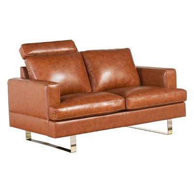 Erickson Top Grain Leather Loveseat - Camel - Abbyson