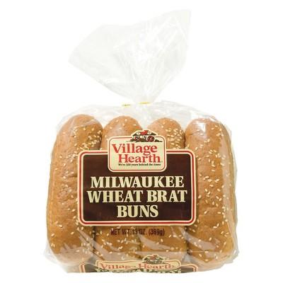 Village Hearth Milwaukee Wheat Brat Buns - 8ct/13oz