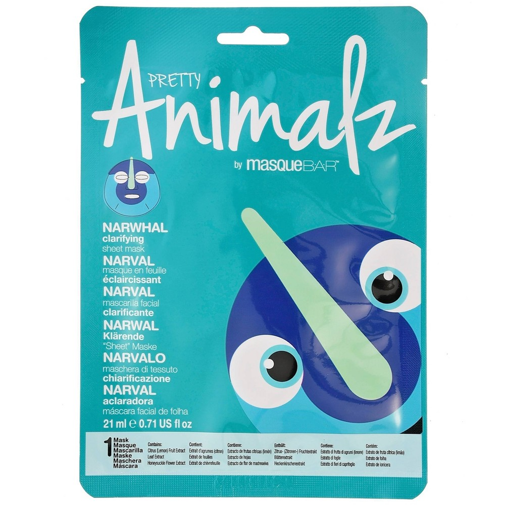 Image of Masque Bar Pretty Animalz Narwhal Sheet Mask - 0.71 fl oz