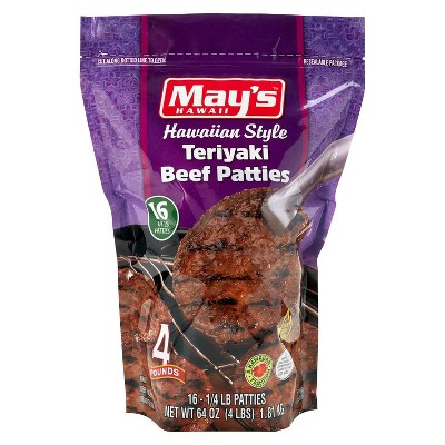 May's Hawaiian Style Teriyaki Beef Patties - Frozen - 4lbs
