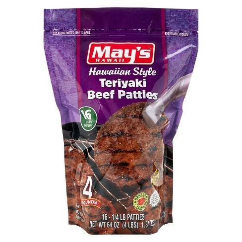 May's Hawaiian Style Teriyaki Beef Patties - Frozen - 4lbs - image 1 of 4