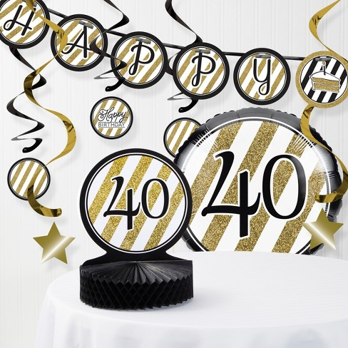 40th Birthday Decorations Kit Black Gold