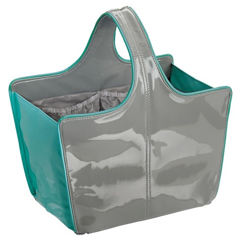 Rectangular Patent Leather Shower Caddy Earth Gray  - InterDesign - image 1 of 4