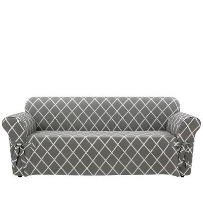 Lattice Sofa Slipcover Slate Gray   Sure Fit