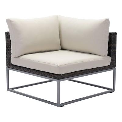 Modern Corner Chair Brown/Beige - ZM Home