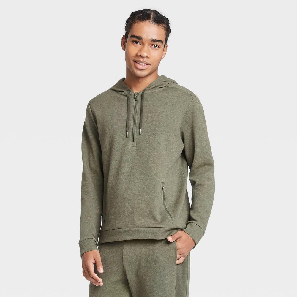 Men's Premium Fleece 1/4 Zip Hoodie - All in Motion Olive Green L, Green Green was $38.0 now $24.7 (35.0% off)