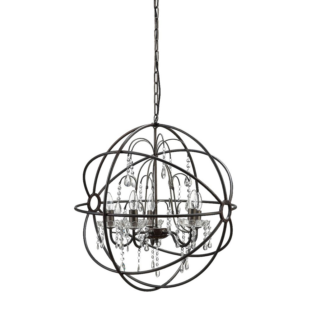 Metal Chandelier with Glass Crystals - Black