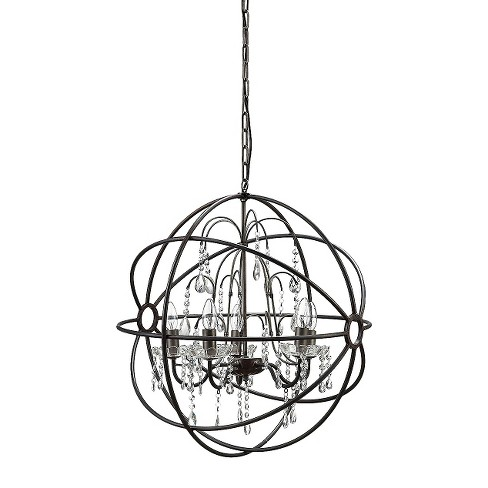 Metal Chandelier with Glass Crystals - Black - image 1 of 1