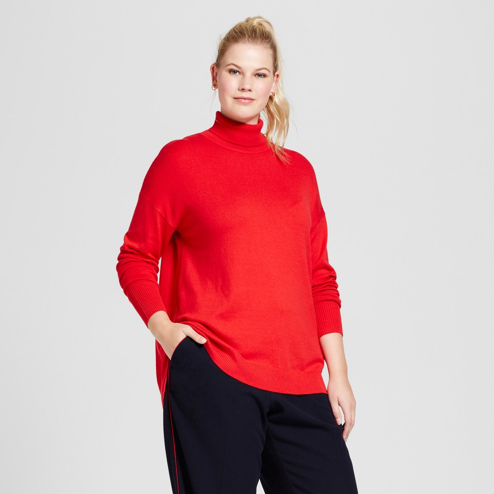 Women's Plus Size Turtleneck - A New Day Red 1X