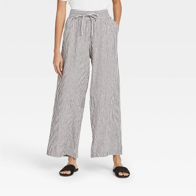 Women's Striped Mid-Rise Relaxed Fit Pants - A New Day™ Black/White