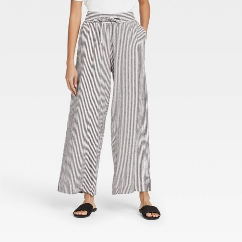 Women's Striped Mid-Rise Relaxed Fit Pants - A New Day™ Black/White - image 1 of 3