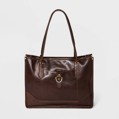 Bolo Leather Snap Closure Tote Handbag - Brown