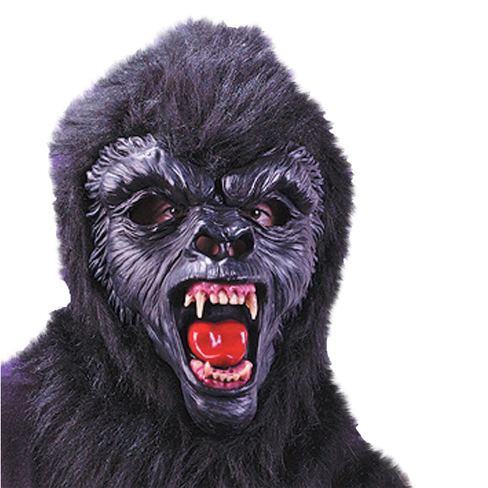 Gorilla Deluxe Mask With Teeth Costume - One Size, Men's, Black