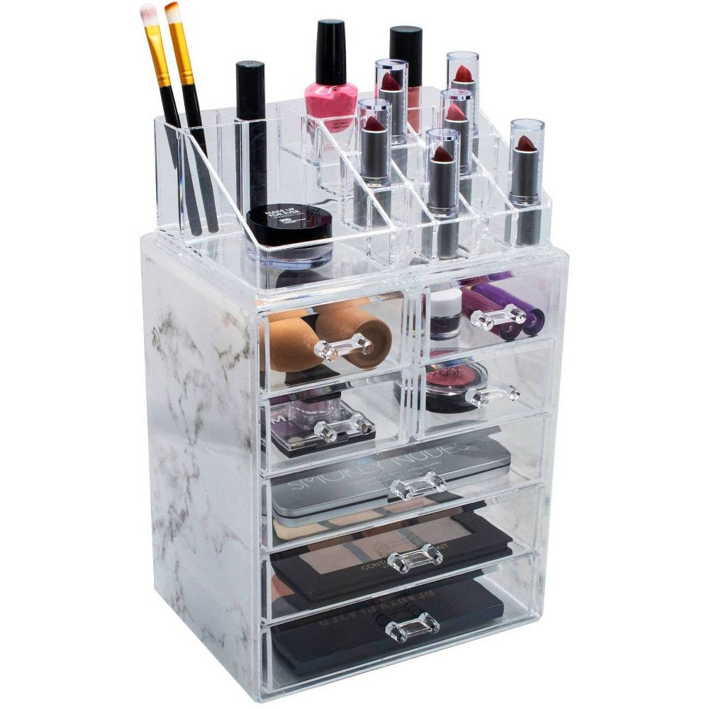 Sorbus Marble Cosmetic Makeup And Jewelry Storage Case 3 Large 4 Small Drawers