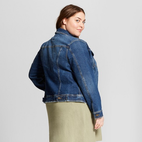 Women s Plus Size Freeborn Denim Jacket - Universal Thread™ Medium Wash    Target 8c38d063b1
