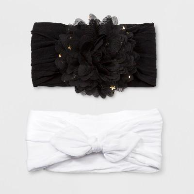 Toddler Girls' 2pk Headwrap with Nylon Bow & Star Print Flower - Cat & Jack™ Black/White