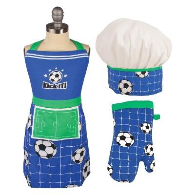 Kids' Apron/Mitt/Hat 3pc Set Blue - Mu Kitchen