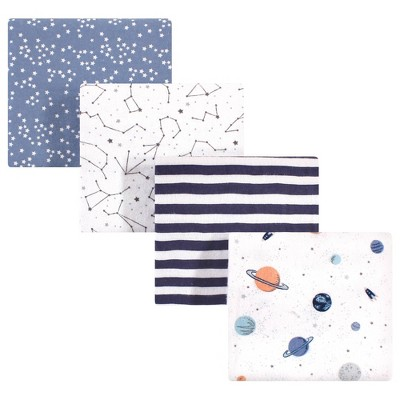 Hudson Baby Unisex Baby Cotton Flannel Receiving Blanket - Space One Size