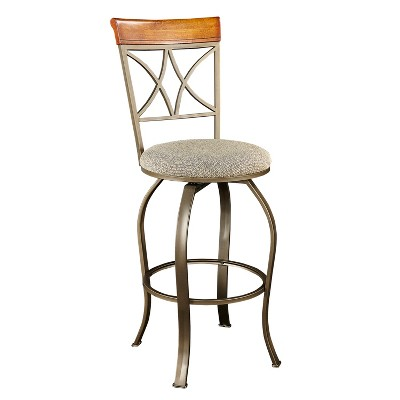 "29"" Carter Swivel Barstool Metal/Tan/Cherry - Powell Company"