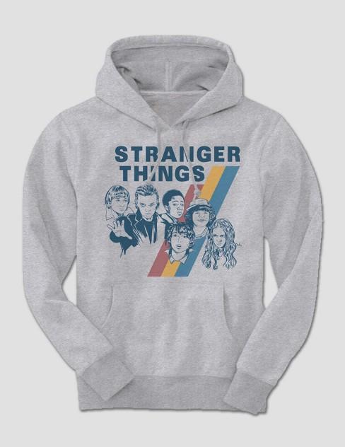 Mens Stranger Things Long Sleeve Vintage Hooded Sweatshirt Grey