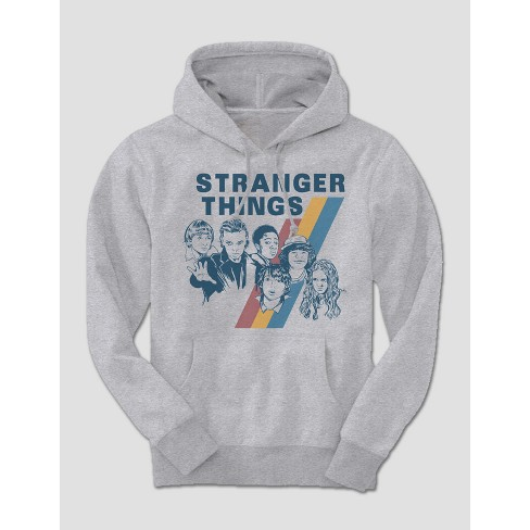 Men's Stranger Things Long Sleeve Vintage Hooded Sweatshirt - Grey Heather L - image 1 of 1