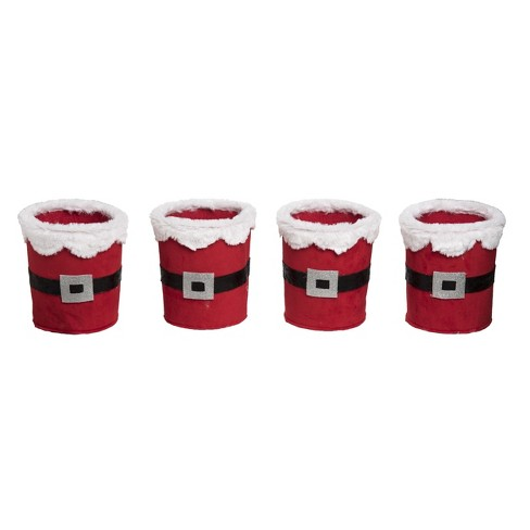 Transpac Fabric 7 in. Red Christmas Plush Santa Belt Containers Set of 4 - image 1 of 1