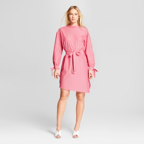 Women's Striped Long Sleeve Mock Neck Dress - Who What Wear™ Pink - image 1 of 3